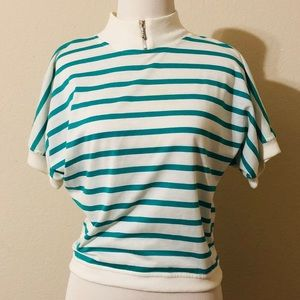 Vintage 80s Anchor Blue Zip Collar Top